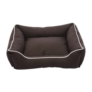 Dog bed coffee coloured with white edging