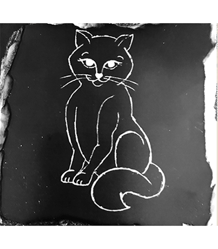 Sketch of cat in black and white