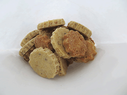 Fresh peanut butter dog biscuits