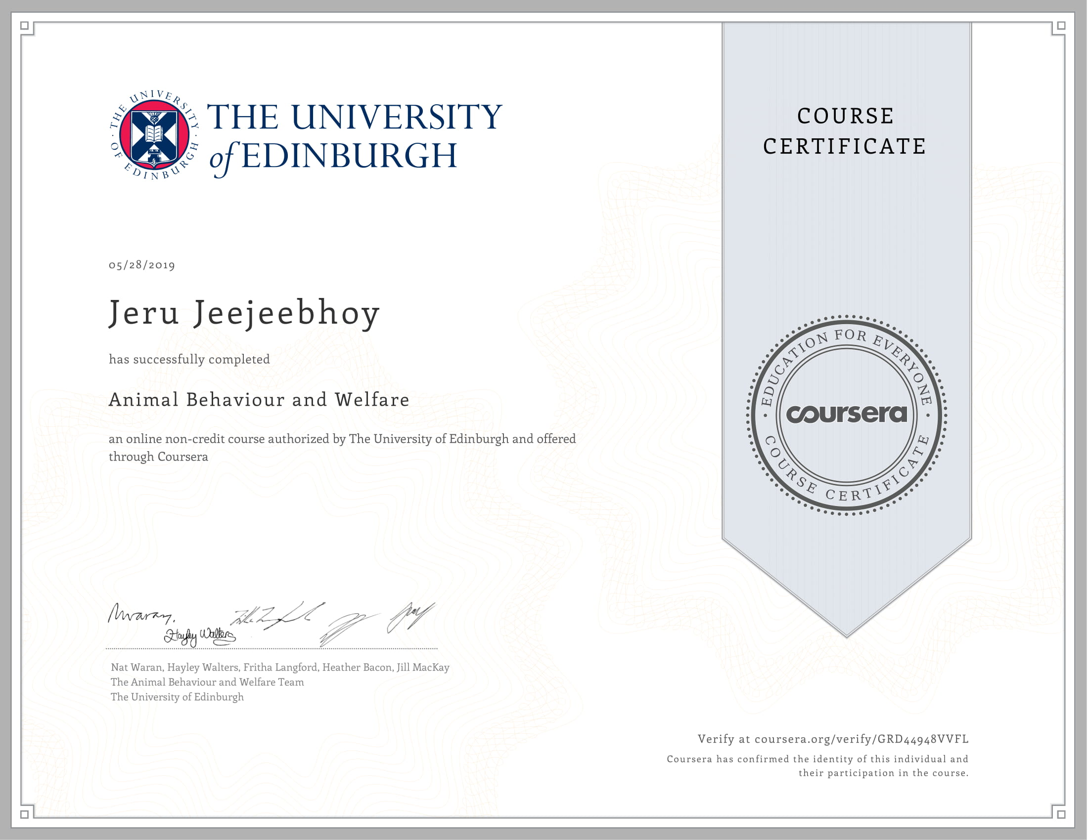 Uni of Edinburgh Animal Behaviour